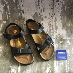 New Birkenstock Black Rio Sandals shoes 42 NWT